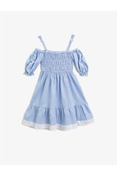 Kız Çocuk Pötikare Pamuklu Etek Ucu Fistolu Elbise