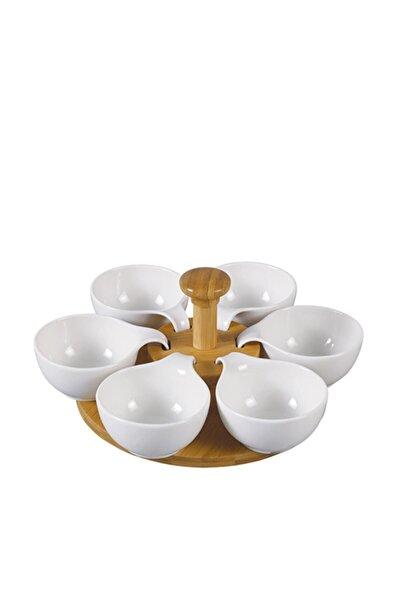La Pure 6'lı Dönerli Bambu Standlı Yuvarlak Beyaz Porselen Servis Sosluk - 20.5 Cm