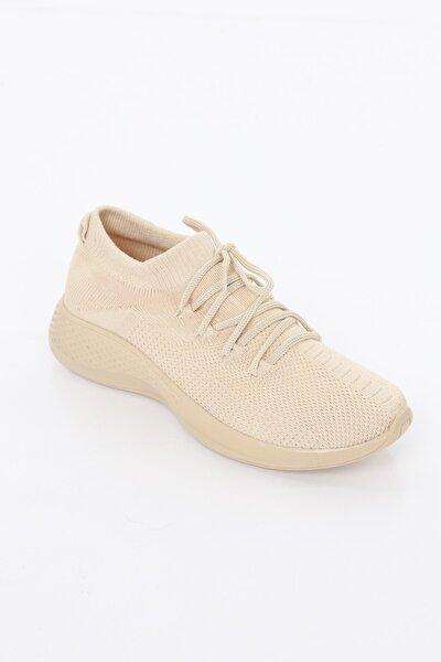Kadın Bej Comfort Çorap Ayakkabı