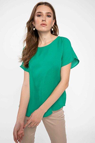 Kadın Yeşil Krep Bluz G6035az.19sp.gn746