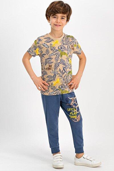 Erkek Çocuk Mavi-Bej Rolypoly Jungle Monkey Kum Pijama Takımı