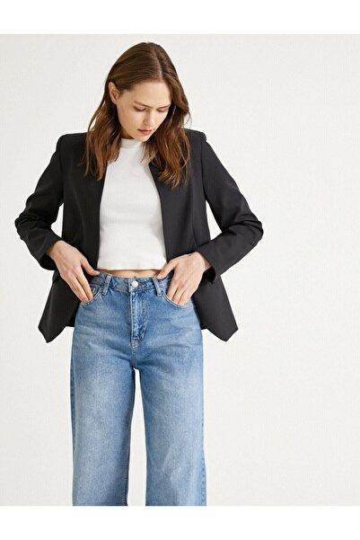 Kadın Siyah Cep Detaylı Ceket