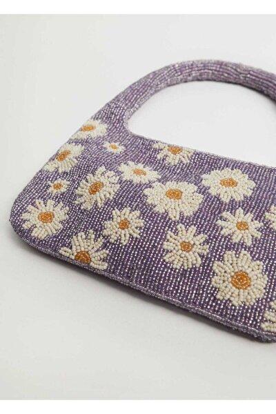 Çiçek Boncuklu Mini Çanta