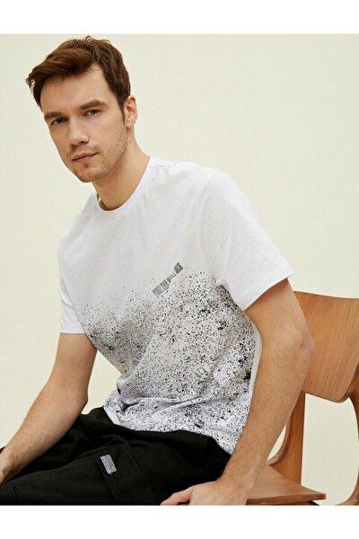 Erkek Beyaz Baskilli Kisa Kollu Pamuklu T-Shirt