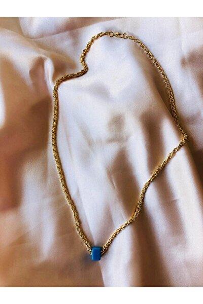 Kadın Gold Renk Mavi Boncuklu Çelik Zincir Kolye
