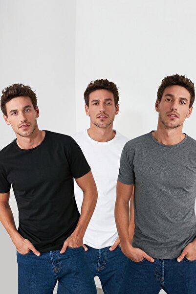 Çok Renkli Erkek Basic Slim Fit 3'lü Paket T-Shirt  TMNSS19BO0007