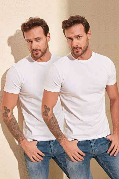 Beyaz Erkek 2'li Basic Paket Slim Fit T-Shirt TMNSS19BO0071
