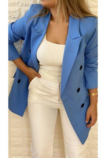 Atlas Kruvaze Blazer Ceket Mavi