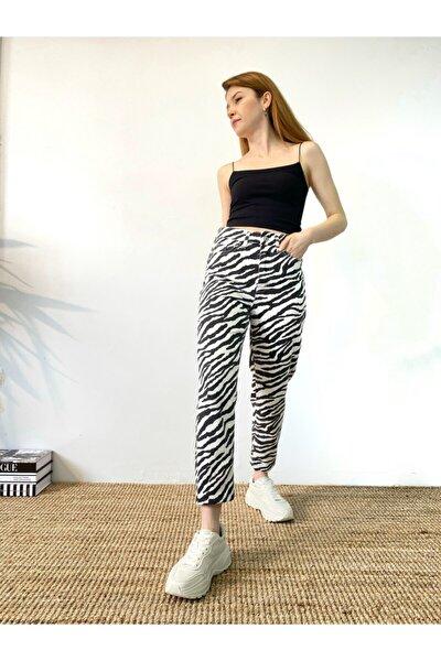 Kadın Zebra Desenli Mom Jean