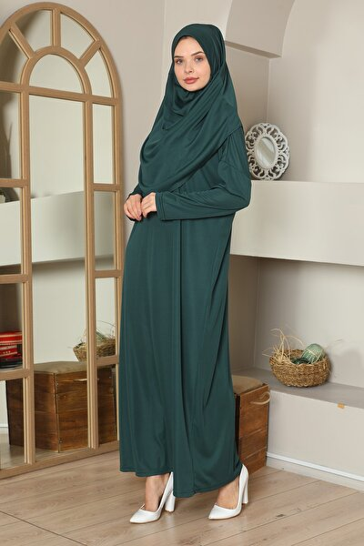 Kolay Giyilebilen Tek Parça Namaz Elbisesi Zümrüt Yeşili