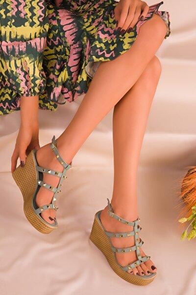 Yeşil Kadın Dolgu Topuklu Ayakkabı 16294