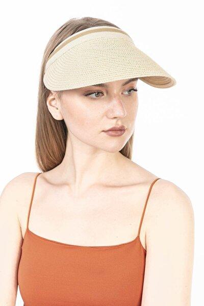 Bej Hasır Vizör Şapka / Tenis Şapkası