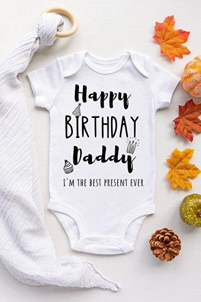 Unisex Bebek Beyaz Doğum Günün Kutlu Olsun Babacığım Çıtçıtlı Body