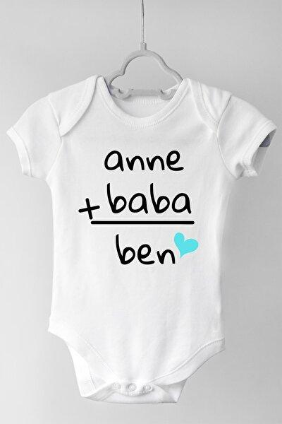 Unisex Bebek Beyaz Anne Baba Ben Kısa Kollu Çıtçıtlı Body