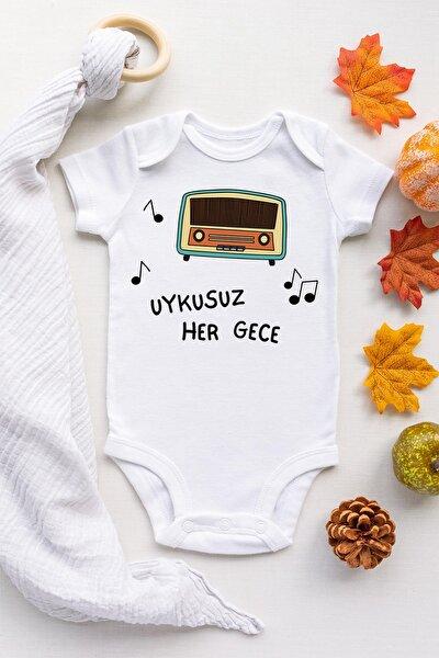 Unisex Bebek Beyaz Uykusuz Her Gece Kısa Kollu Çıtçıtlı Body