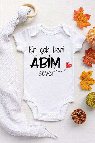 Bebek Beyaz Abim Sever Kısa Kol Çıtçıtlı Body