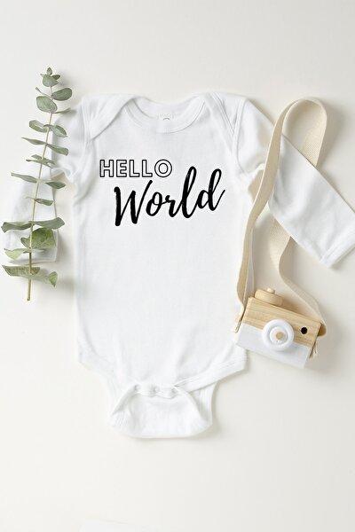 Unisex Bebek Beyaz Hello World Çıtçıtlı Body