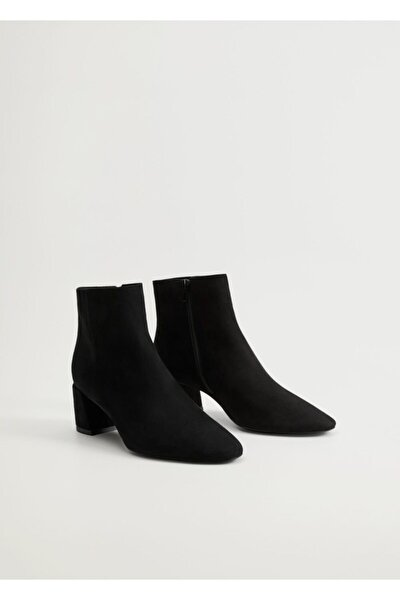 Kadın Siyah Topuklu Süet Yarım Bot