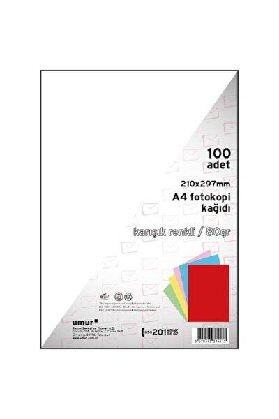 5 Renk A4 Karışık Renkli Fotokopi Kağıdı 100 Sayfa 80 gr