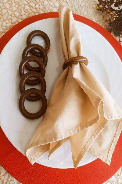 6'lı Kahverengi Vintage Ahşap Halka Peçete Yüzüğü