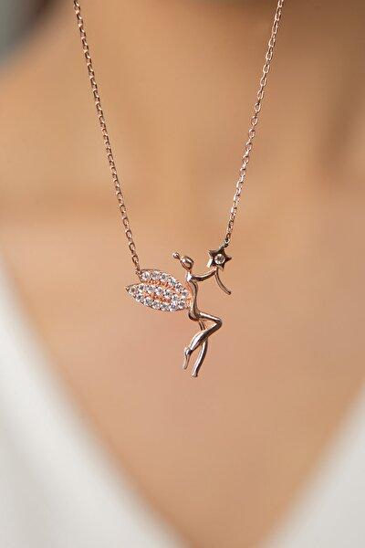 Kadın Yıldız Ve Beyaz Taş Detaylı Peri Kızı Model 925 Ayar Gümüş Kolye