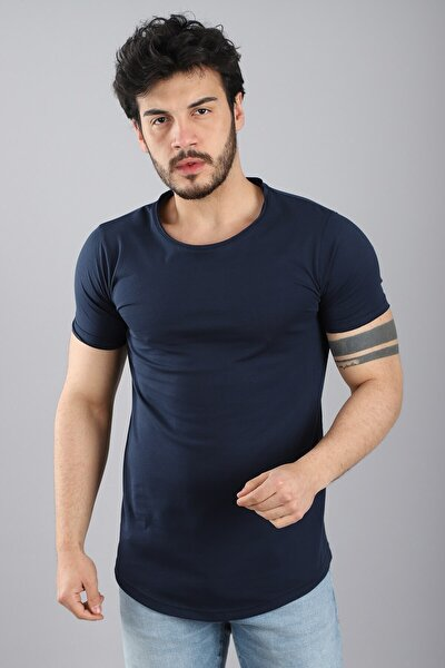 Erkek Kısa Kollu Bisiklet Yaka Eteği Oval Slim Fit Lacivert T-shirt