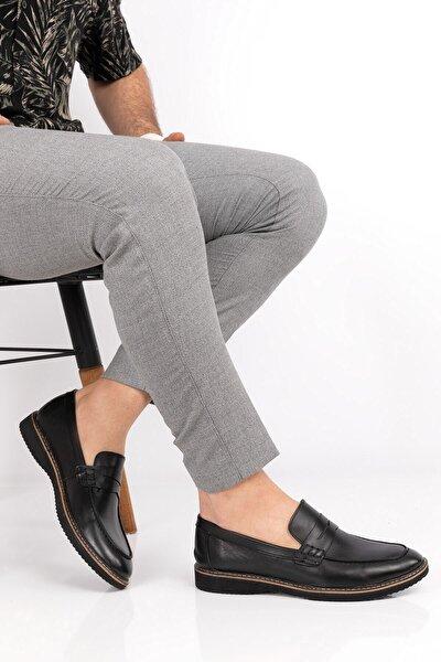 Erkek Siyah Hakiki Deri Loafer Ayakkabı
