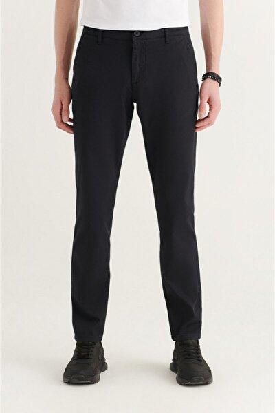 Erkek Siyah Yandan Cepli Armürlü Slim Fit Pantolon A11y3036