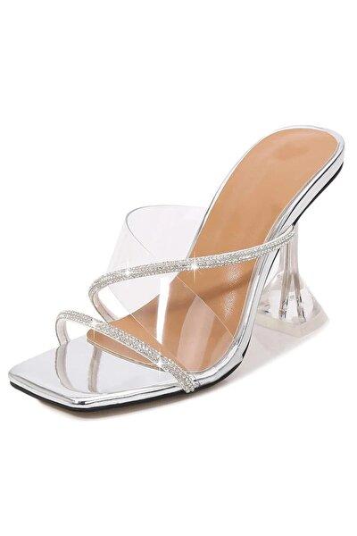 Kadın Gümüş Nude Beyaz Taba 8cm Şeffaf Topuklu Taşlı Küt Kare Burunlu Stiletto Ayakkabı Terlik
