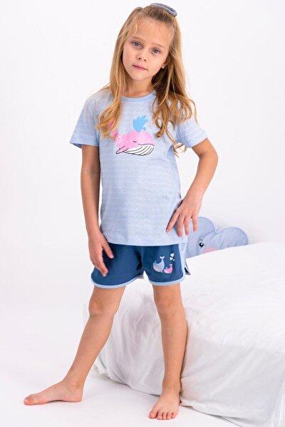 Kız Çocuk Mavi Şortlu Takım Rp2448-2