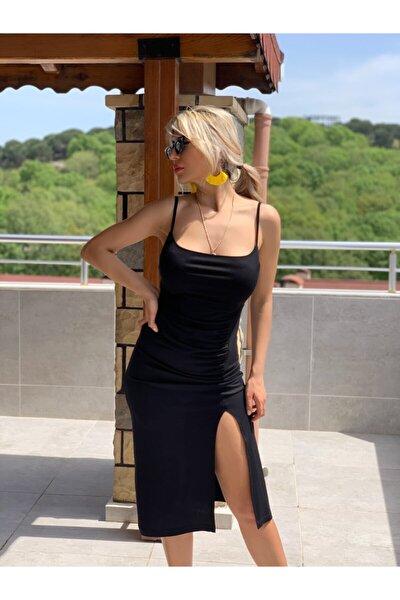 Kadın Siyah Midi Boy Elbise