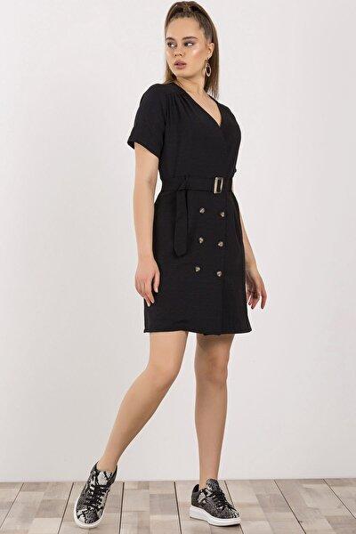 Kruvaze Yaka Midi Elbise