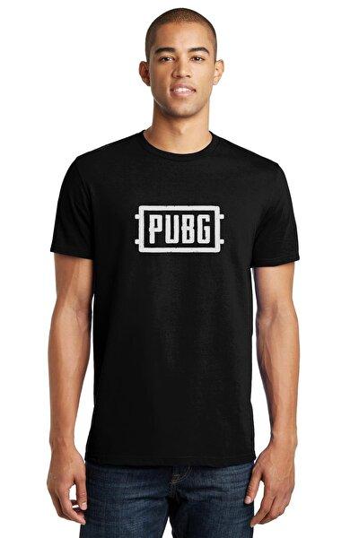 Pubg Logo Baskılı Siyah Erkek Örme Tshirt