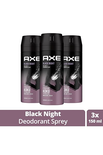 Erkek Deodorant Sprey Black Night 150 Ml X3