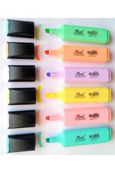 Pastel Renk Fosforlu Işaretleme Kalemi 6 Lı Set Fosfor6