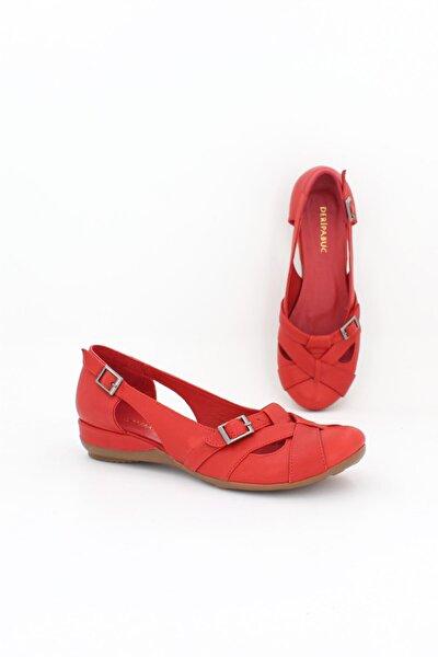 Hakiki Deri Kırmızı Kadın Deri Babet Trc-4002
