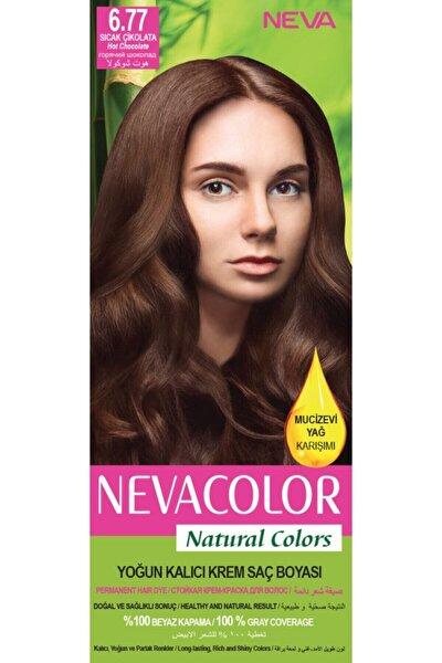 Nevacolor Natural Colors 6.77 Sıcak Çikolata - Kalıcı Krem Saç Boyası Seti