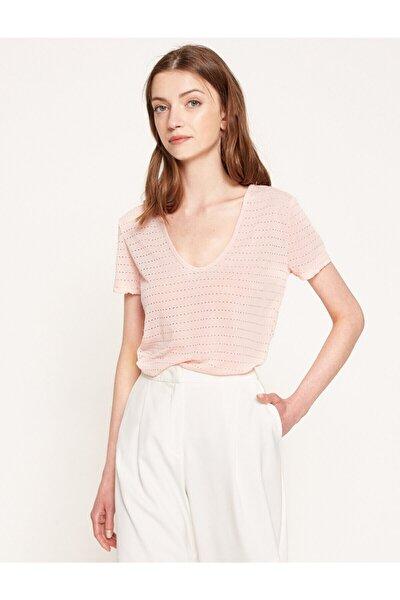 Kadın  Pembe Desenli T-Shirt 7YAK13261EK