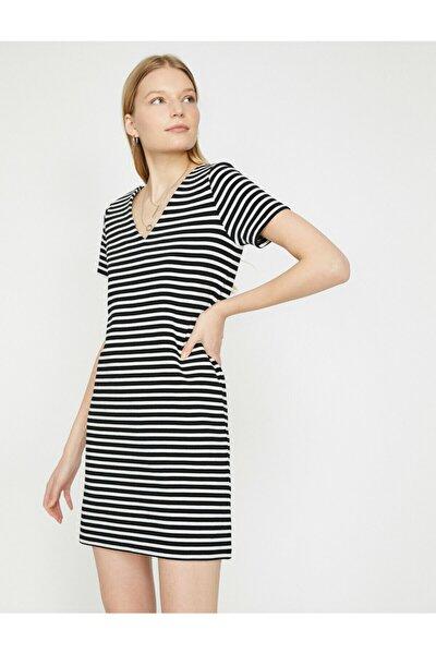 Kadın Siyah V Yaka Kısa Kollu Mini Elbise 9YAK83824EK