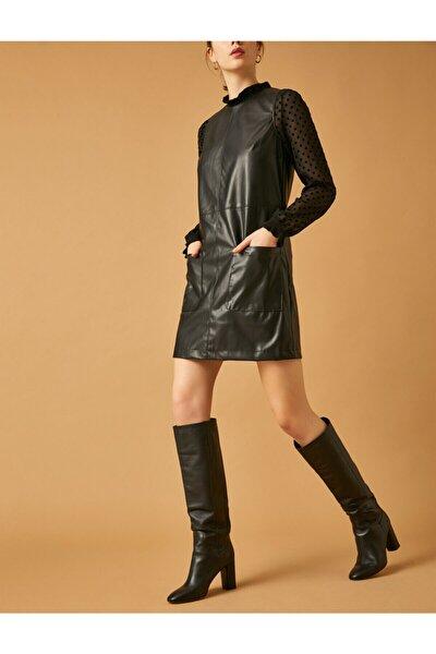 Kadın Deri Görünümlü Elbise