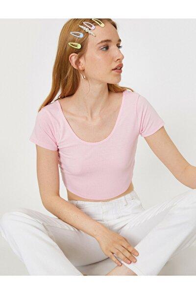 Kadın Pembe Oyuk Yaka Kısa Kollu T-Shirt 9YAL18498OK