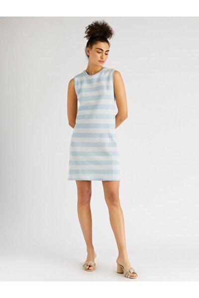 Kadın Mavi Beyaz Sıfır Yaka Sıfır Kol Midi Elbise