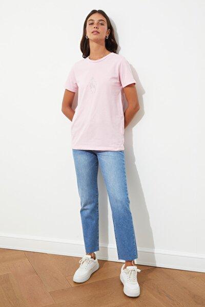 Pembe Nakışlı Basic Örme T-Shirt TWOSS20TS0553