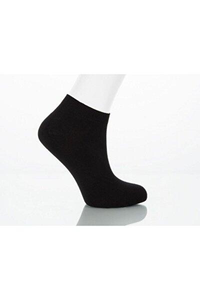 3 Çift Bambu Erkek Patik Kısa Yazlık Ince Çorap Renk Siyah