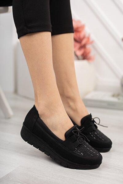 Kadın Siyah Bağcıklı Taşlı Ortopedik Taban Ayakkabı