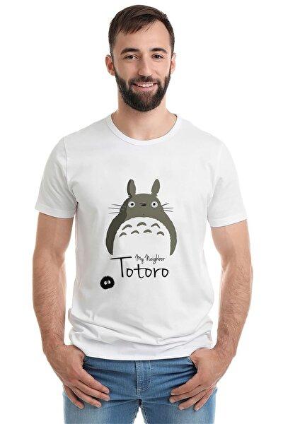 My Neighbor Komşum Totoro Baskılı Beyaz Erkek Örme Tshirt