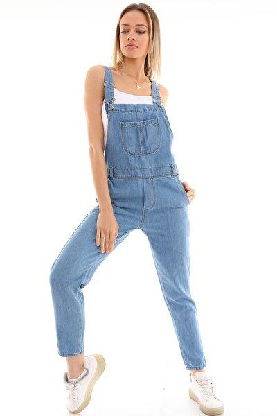 Kadın Mavi Bahçıvan Salopet Kot Pantolon Tulum
