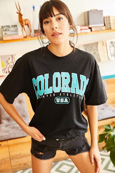 Kadın Siyah Colorado Baskılı Salaş Tişört TSH-19000507