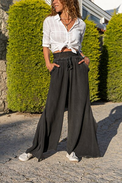 Kadın Antrasit Yıkamalı Asimetrik Kesim Salaş Pantolon GK-RSD2051
