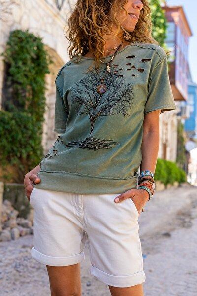 Kadın Haki Yıkamalı Yırtıklı İşlemeli T-Shirt GK-CCK58052